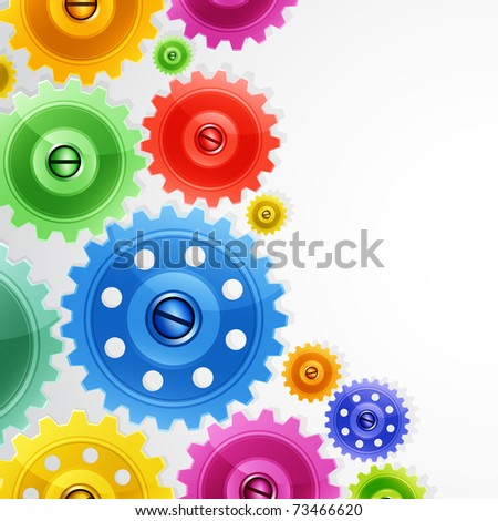 Techno background with colorful gears. Industrial image. - stock photo
