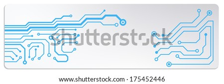 techno circuit web banners. bitmap illustration