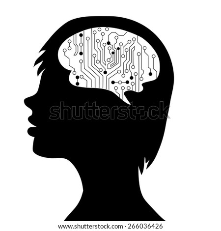 Technological brains . silhouette of the head and  brain. process of human thinking. The concept of intelligence. People communication with the outside world. - stock photo