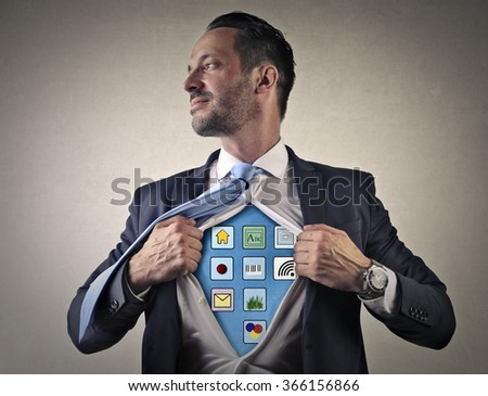 Technological businessman - stock photo