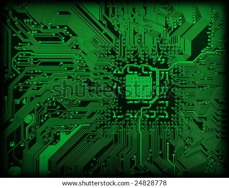 Technological industrial electronic dark green background