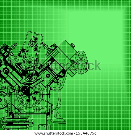 Technology abstract background. Drawing engine. Raster version. The original is also available in my gallery - stock photo