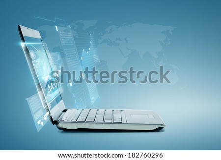 technology and advertisement concept - laptop computer with chart and graphs on screen - stock photo