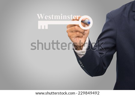 Technology and business systems, and the Internet - keys of  Westminster  search. - stock photo