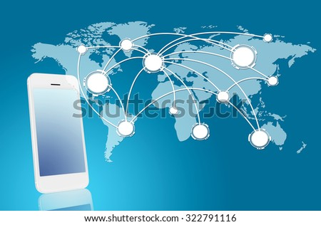 Technology and network concept - smarthphone with world map