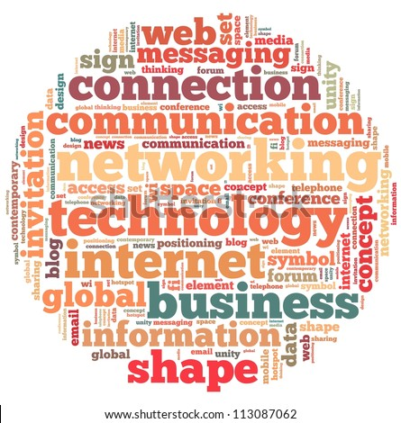 Technology and networking  info-text graphics and arrangement concept on white background (word cloud) - stock photo