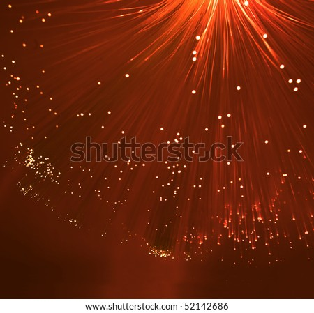 technology background, Bunch of green red fibre optics - stock photo