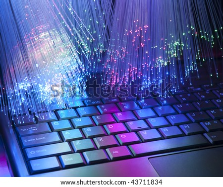 technology background, Bunch of green red fibre optics with keyboard more in my portfolio