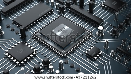 Technology background. Central Computer Processors CPU concept. High resolution 3d render