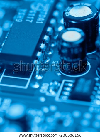 technology background (computer circuit board toned in cyan) - stock photo