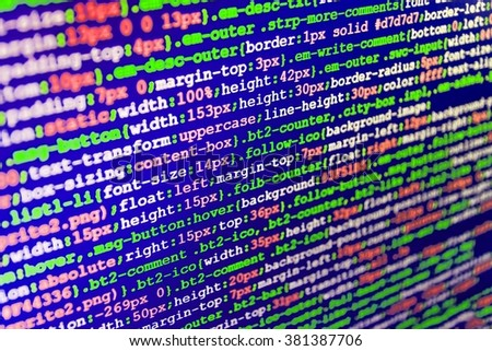 Technology background. Developer working on software codes in office.  Writing programming code on laptop. (Code is my own property there is no risk of copyright violations) - stock photo