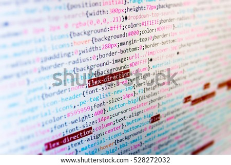 Technology background. IT specialist workplace. Abstract source code background. Script procedure creating. New technology revolution. Programming code on computer screen.