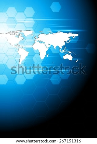 Technology background with world map