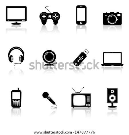 Technology black icons.  Raster version - stock photo