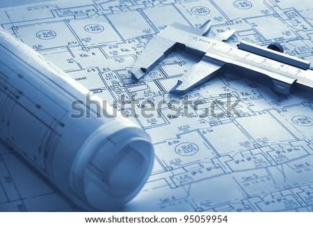 Technology blueprints - stock photo
