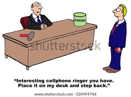 Technology cartoon where boss says to manager, 'Interesting cellphone ringer you have.  Place is on my desk and step back'. - stock photo