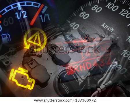 Technology collage, abstract background - stock photo