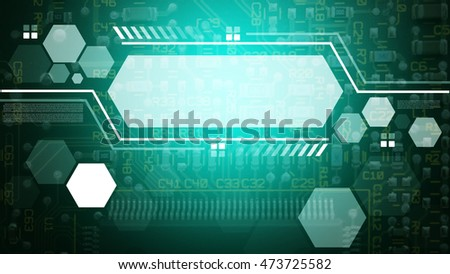 Technology communication concept : Polygon and circuit board