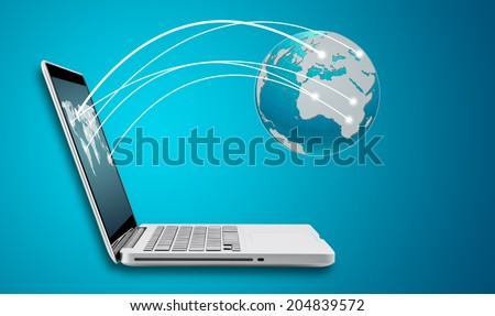 Technology computer laptop and networking concept with map on blue background - stock photo