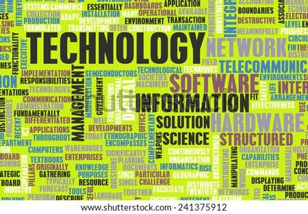 Technology Concept as a Abstract Word Cloud Art - stock photo