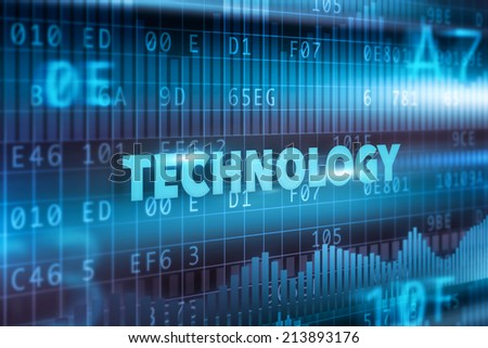 Technology concept blue text with blue background - stock photo