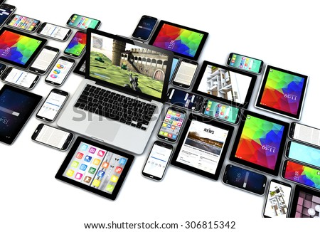 technology concept: devices collection over white background. All screen graphics are made up. - stock photo