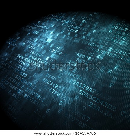 Technology concept: hex-code digital background, 3D render - stock photo