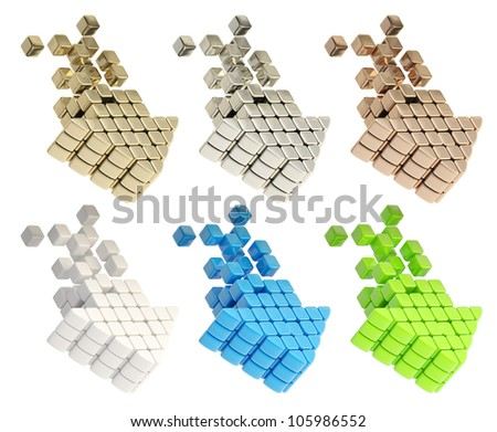 Technology cubic arrows isolated on white, set of six - stock photo