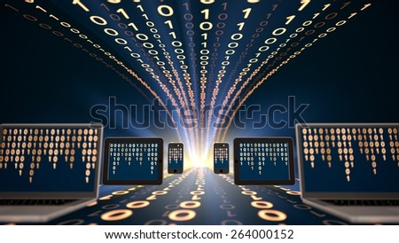 Technology. 3D. Binary code and computer monitors - stock photo