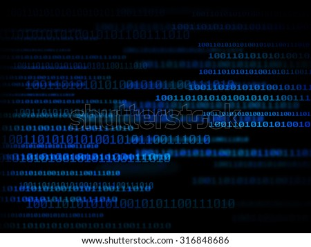 Technology digital background, glowing figures, binary code