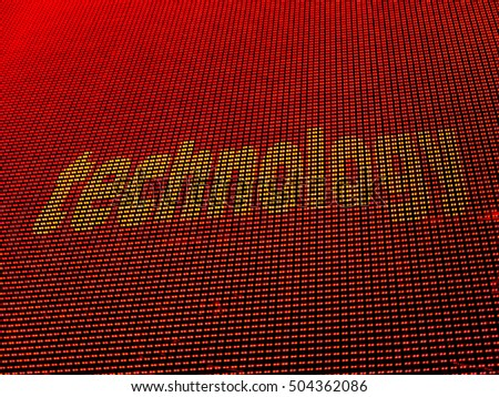 Technology digital concept. Written on array of halftone colored LED diodes. Yellow text on red background.