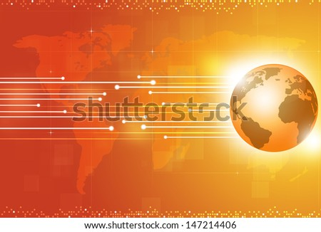 technology digital global business yellow concept background