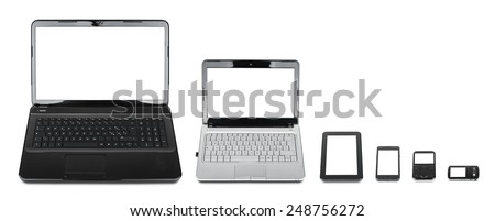 Technology evolution: collection of different kind of mobile devices isolated on white background - stock photo