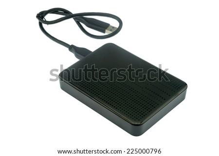 Technology : External hard disk on white background - stock photo