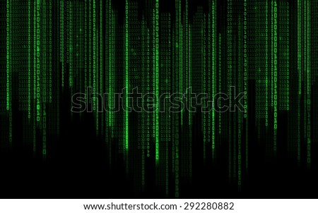 technology, future, programming and matrix - black green binary system code background - stock photo