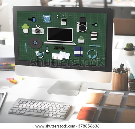 Technology Gadget Media Icons Concept