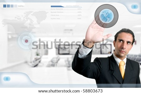 technology / human resources concept: successful man searching on digital screen - stock photo