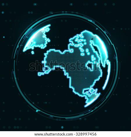 Technology image of globe. The concept illustration  - stock photo