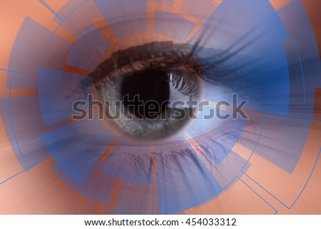 Technology in the eye - futuristic technology business concept - stock photo