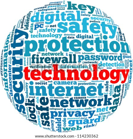 Technology info-text graphics and arrangement concept on white background (word cloud) - stock photo