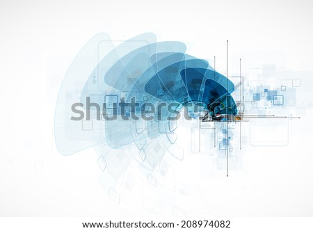 Technology innovation background, idea of global business solution - stock photo