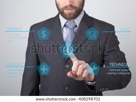 technology, internet and networking concept - businessman pressing technical support button on virtual screens. Internet technologies in business - stock photo