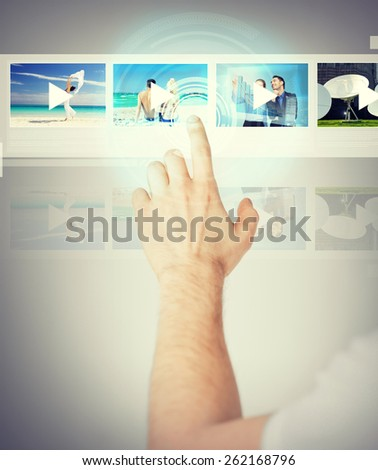 technology, internet and networking concept - man pressing button on virtual screen - stock photo