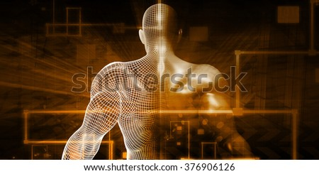 Technology Network with Futuristic Graph Chart Concept - stock photo