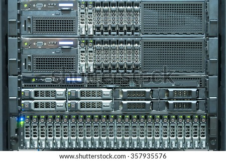 Technology of computer server in datacenter - stock photo