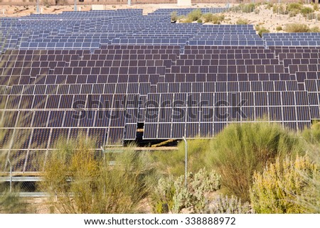 technology of energy production: electric solar panel system - stock photo