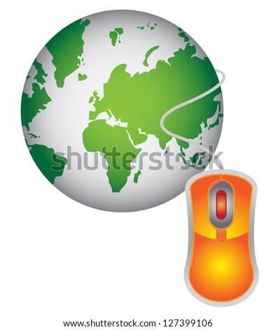 Technology or Internet and Online Concept Present By Green Globe With Orange Mouse  Isolated on White Background - stock photo