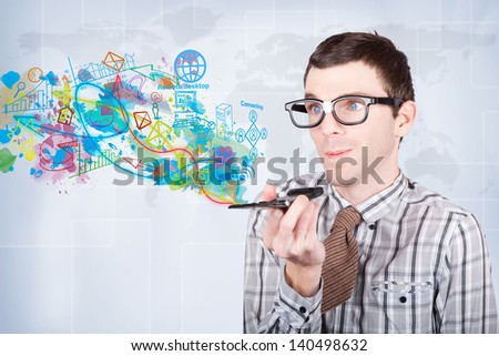 Technology smart business man browsing the internet for global media apps with social media access via his electronic smartphone. Download and share the world - stock photo