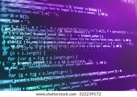 Technology source code close-up display laptop byte programmer network software IT business developer data engineer  Shallow DOF, selective focus effect. Code text written and created by myself - stock photo