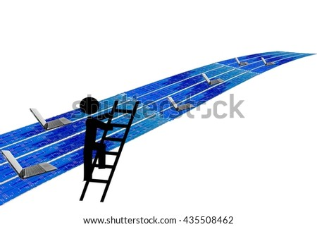 Technology superhighway with thief graphic and laptops - stock photo